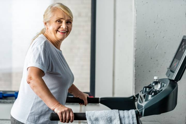 Woman Happy on a Treadmill